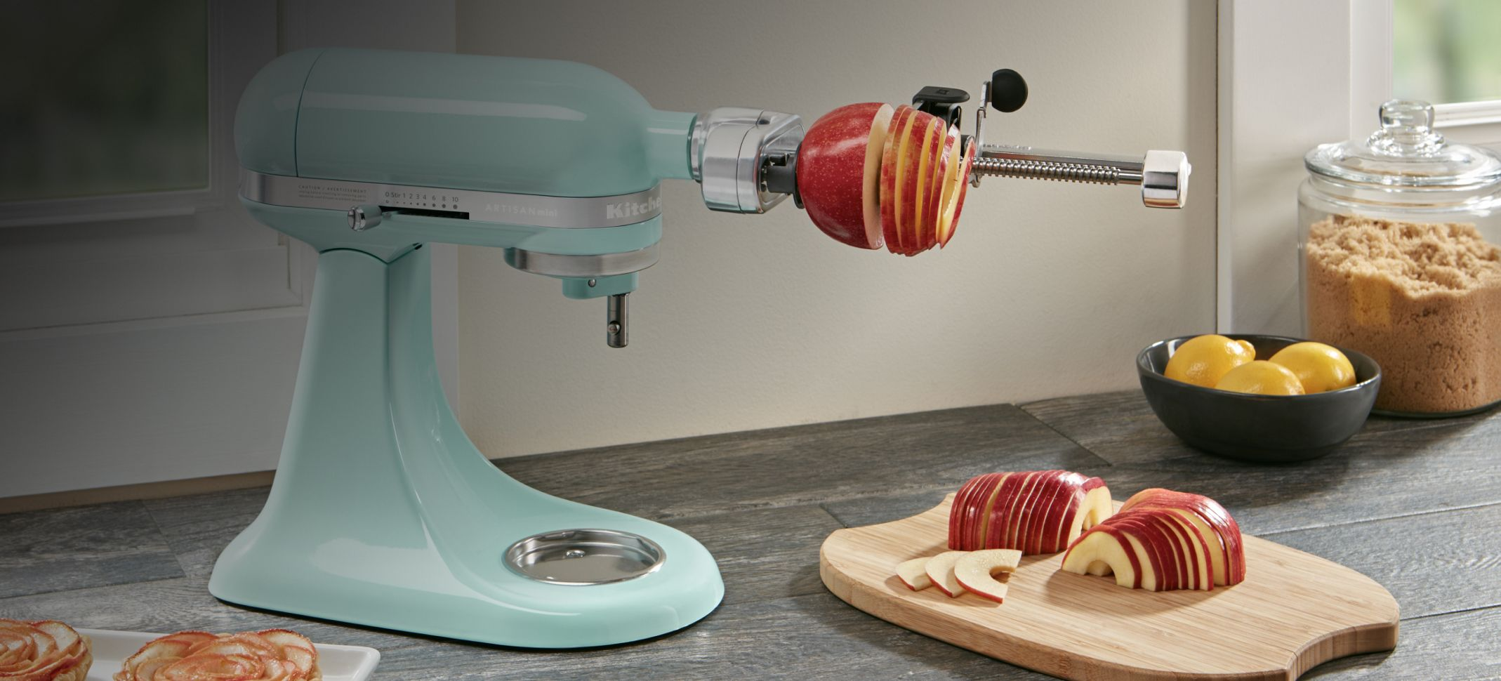 Cooking sausage prepared with a KitchenAid® Stand Mixer attachment.