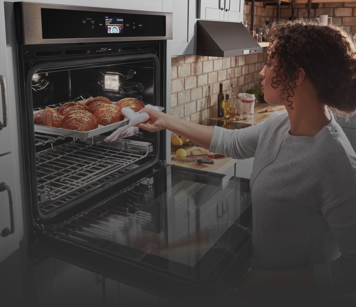Baking in a KitchenAid® wall oven.