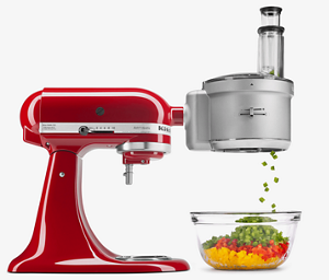 Red Stand Mixer using fresh prep attachment to intricately dice red, yellow and green peppers.