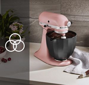 Matte Dried Rose KitchenAid® stand mixer with pink macarons