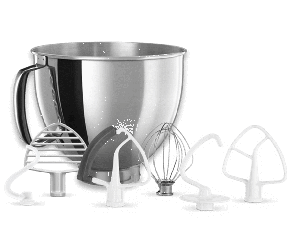 A stainless steel bowl, edge beater, whip, dough hook, flat beater, spiral hook and pastry beater.