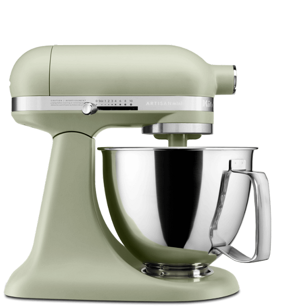 Matte avocado cream artisan® mini tilt-head Stand Mixer.