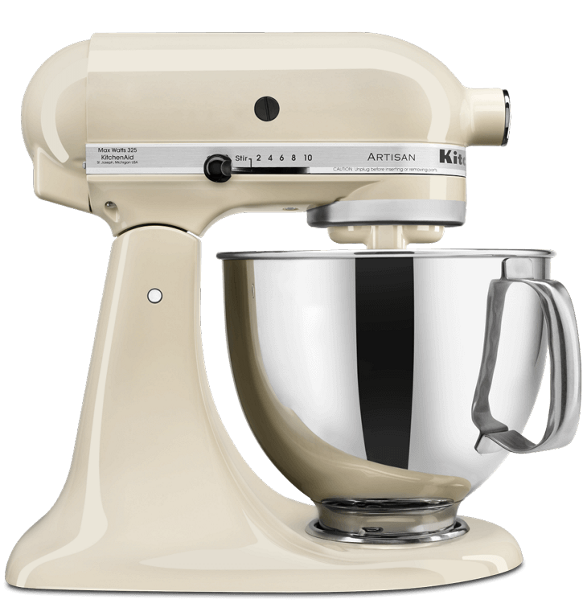 Almond Cream-colored tilt-head Stand Mixer.