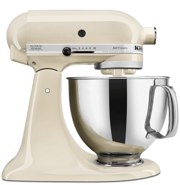 Almond Cream-colored tilt-head Stand Mixer.
