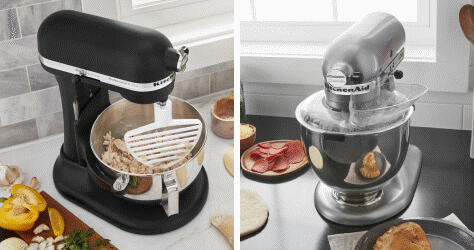 A Matte Black Stand Mixer using a Pastry Beater. A Chrome Stand Mixer using a Secure Fit Pouring Shield.
