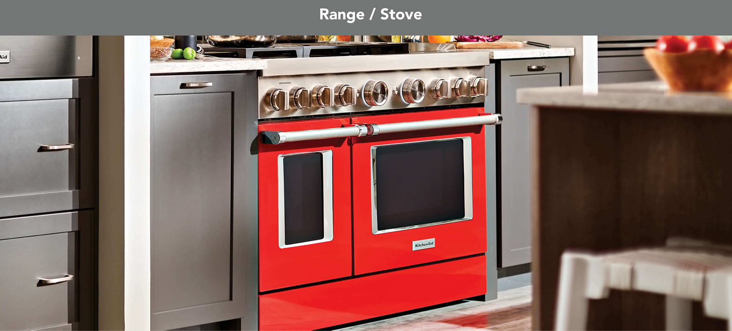 Red commercial-style range in a kitchen