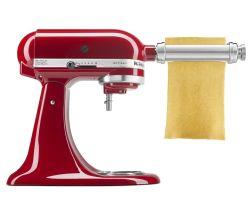 KitchenAid® stand mixer with pasta cutter attachment.