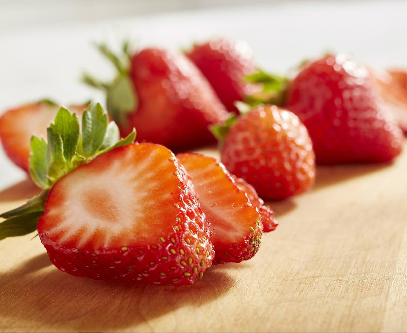 Freshly cut strawberries.