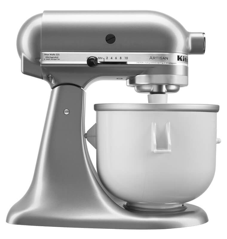 A silver KitchenAid® tilt-head stand mixer with Ice Cream Maker attachment.