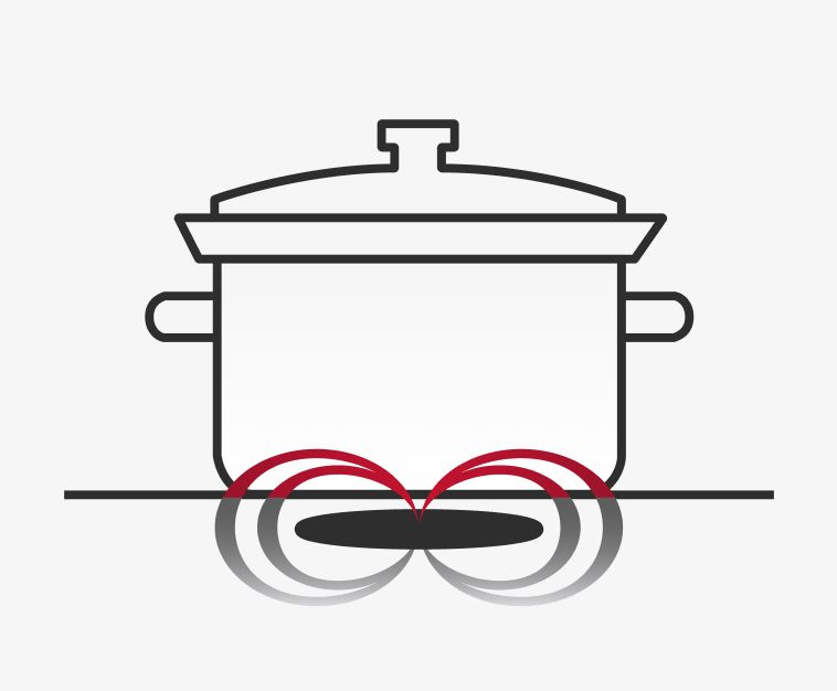 Illustration of covered pot on induction cooktop.
