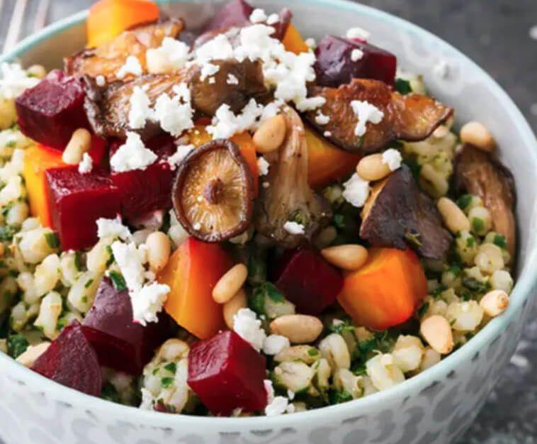 Bowl of beets and farro salad