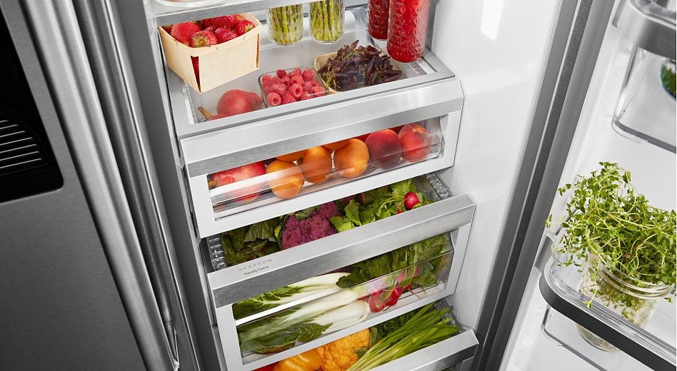 Fruits and vegetables in a refrigerator
