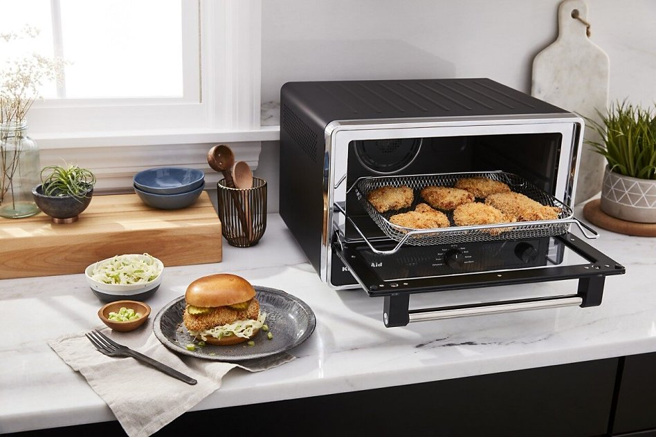Air-fried chicken in KitchenAid® Countertop Oven with Air Fry.