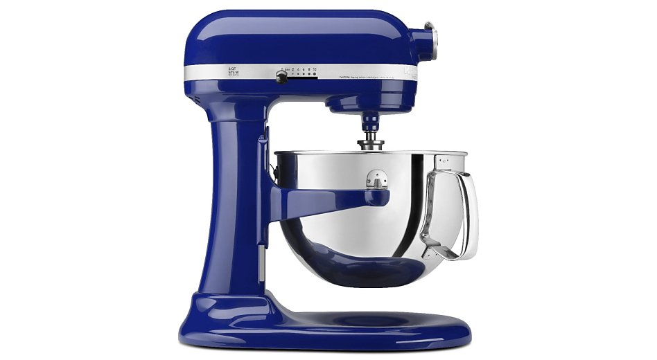 Side profile of dark blue bowl-lift stand mixer with stainless steel bowl