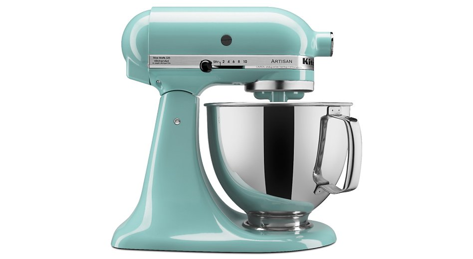 Side profile of aqua sky tilt-head stand mixer with stainless steel bowl
