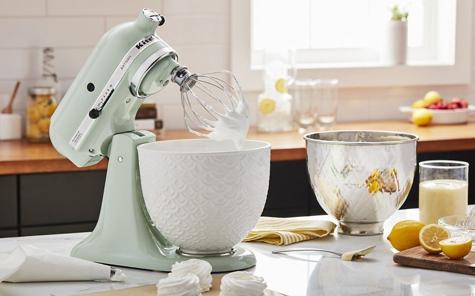 Pistachio stand mixer with white mermaid lace bowl and quilted stainless steel bowl