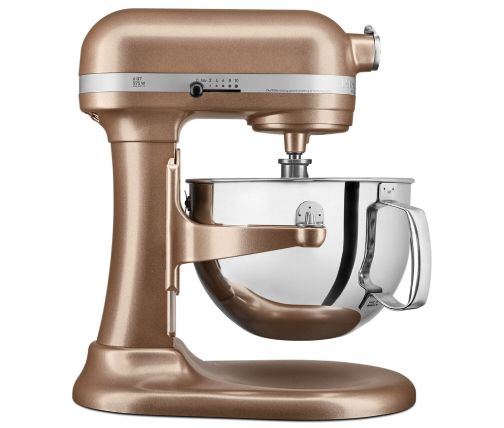 Side profile of Copper colored bowl-lift stand mixer