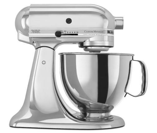 Side profile of Chrome stand mixer