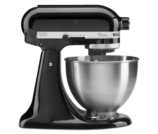 Side profile of black stand mixer