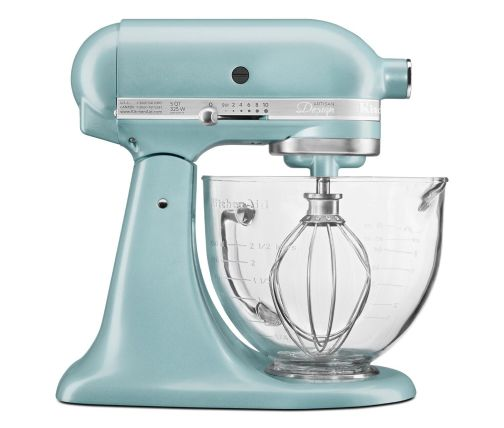 Side profile of light blue stand mixer with glass bowl