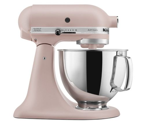 Side profile of light pink stand mixer for bakers