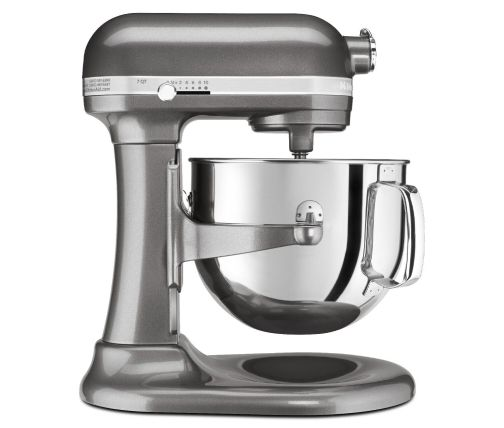 Side profile of extra large dark silver bowl-lift stand mixer