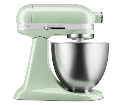 Side profile of light green mini stand mixer