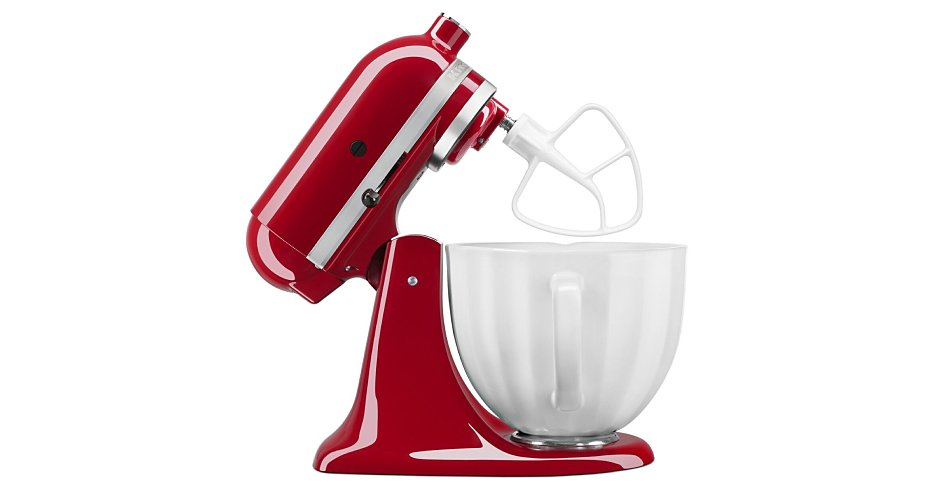 Side profile of red tilt-head stand mixer with head tilted back