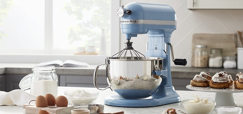 Blue Velvet bowl-lift stand mixer on countertop surrounded by cooking ingredients