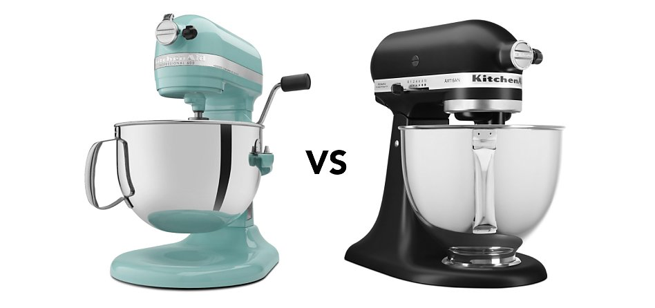 """Blue bowl-lift stand mixer next to a black tilt-head stand mixer with """"vs"""" in between"""