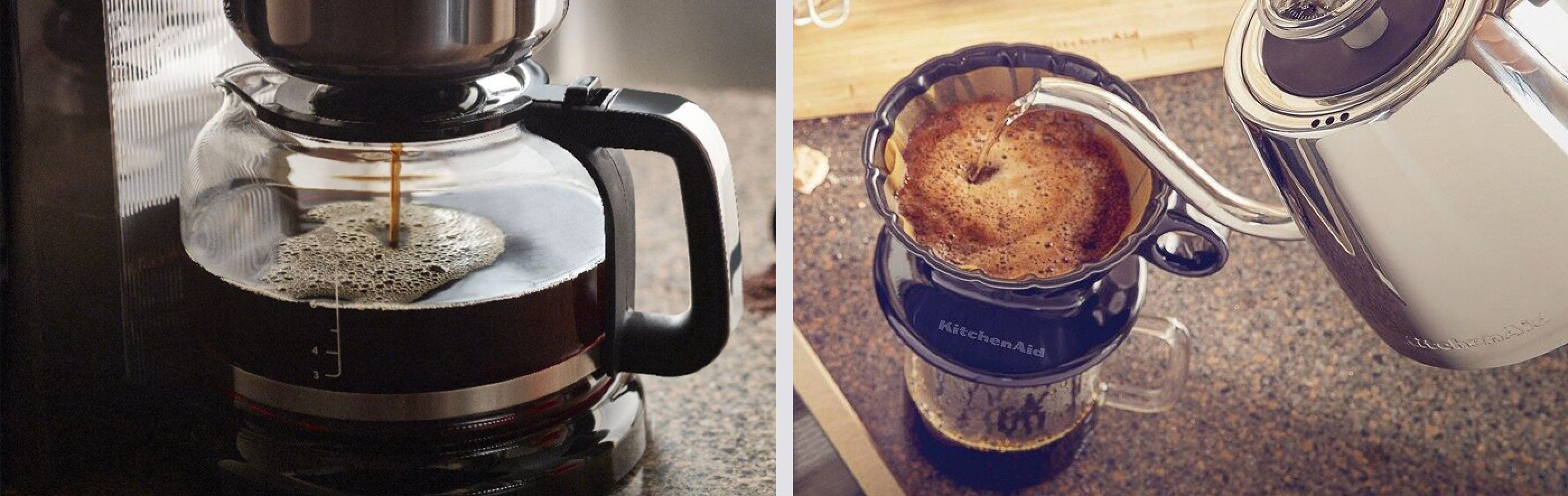 Auto drip coffee maker next to pour over coffee being made with a gooseneck kettle