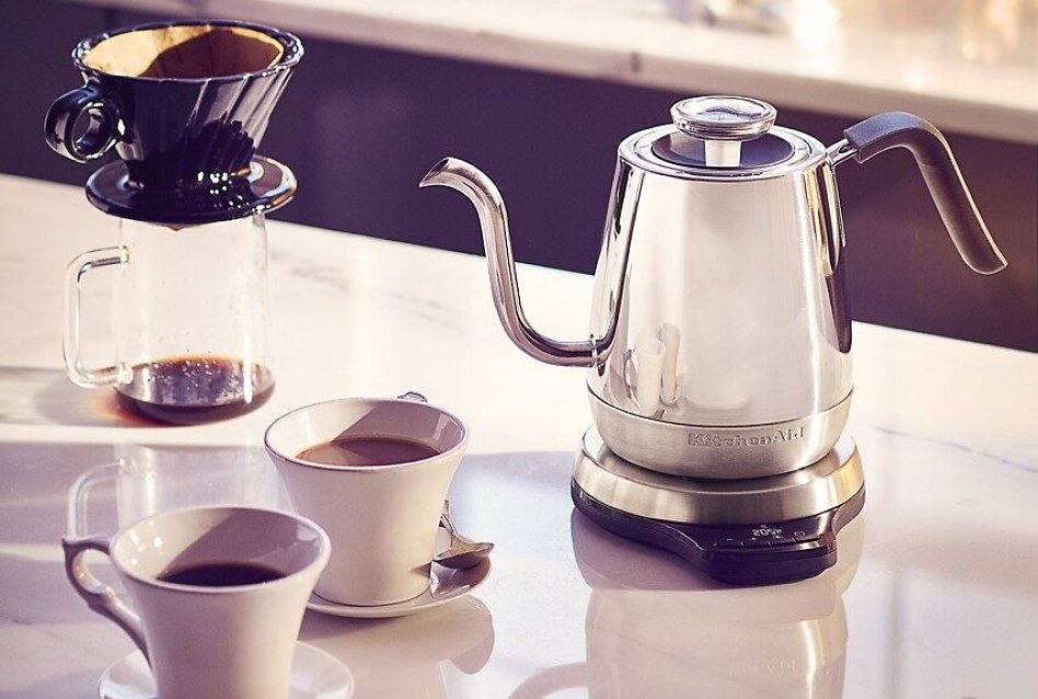 KitchenAid® gooseneck kettle on counter with coffee and pour over coffee cone
