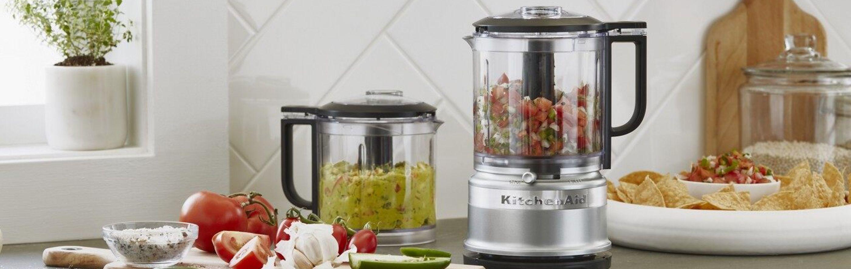 Silver KitchenAid® food processor on kitchen counter