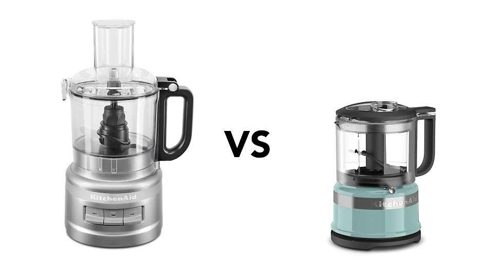 food processor vs food chopper with black food processor and blue food chopper on white background