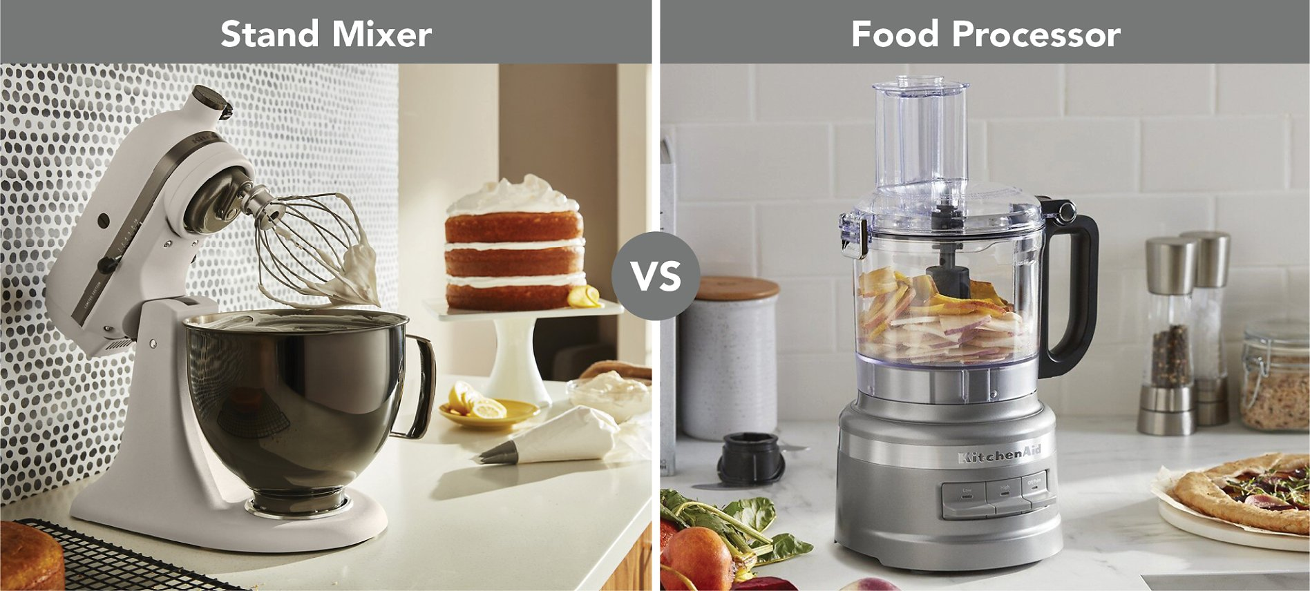 Stand mixer and food processor comparison picture