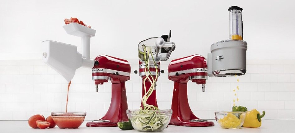 Various KitchenAid® stand mixers with strainer, spiralizer and food processor attachments