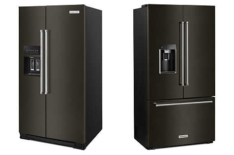 Black stainless steel side by side refrigerator next to a French door refrigerator