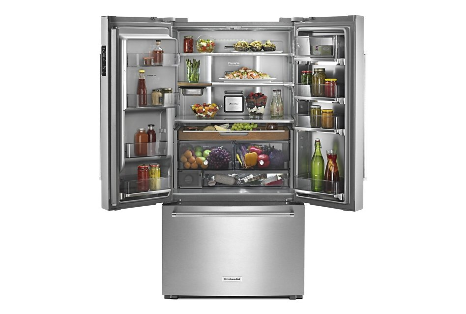 French door refrigerator open on top with food inside