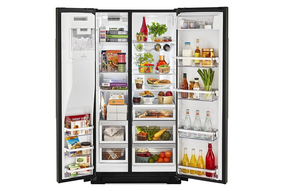 Side by side refrigerator open with food inside