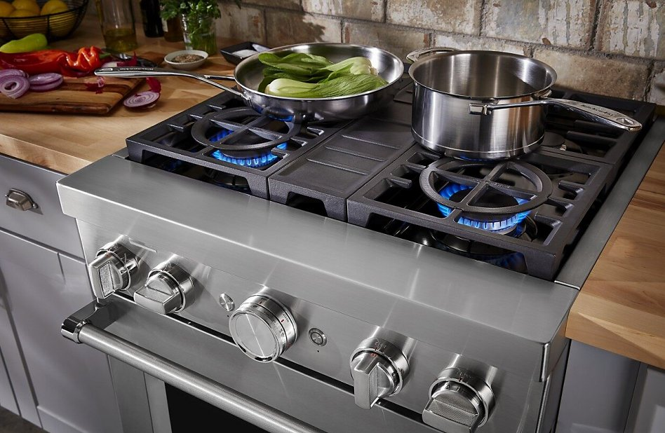 Pots and pans on a gas range