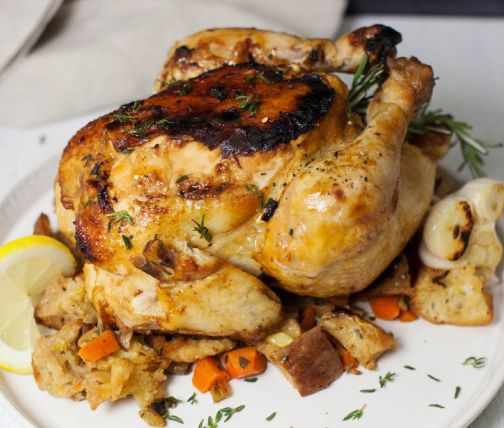 Roasted chicken with rice