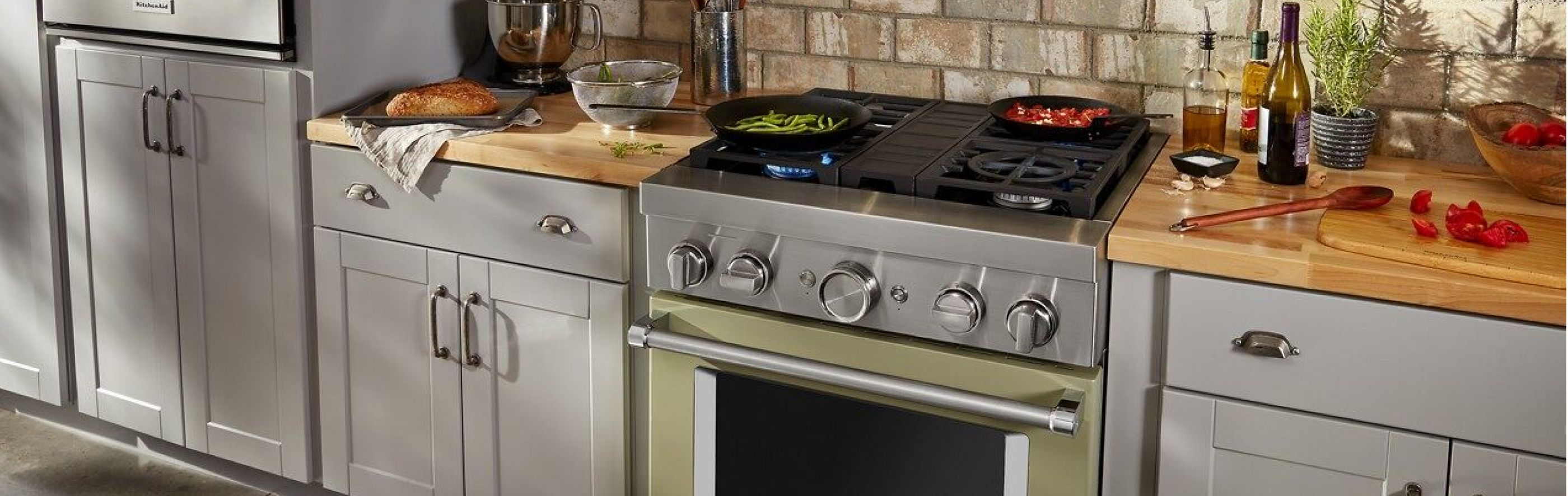Food cooking on a commercial gas range