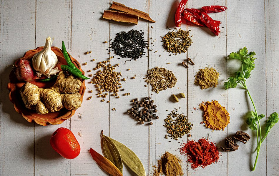 View of different seasonings and spices
