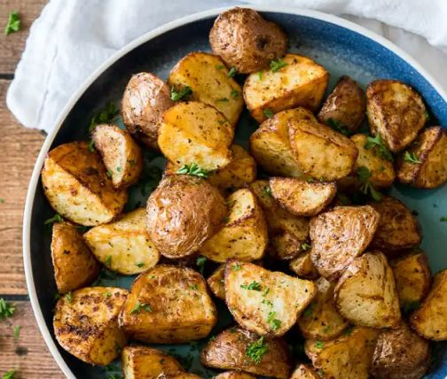 Plate of roasted potatoes