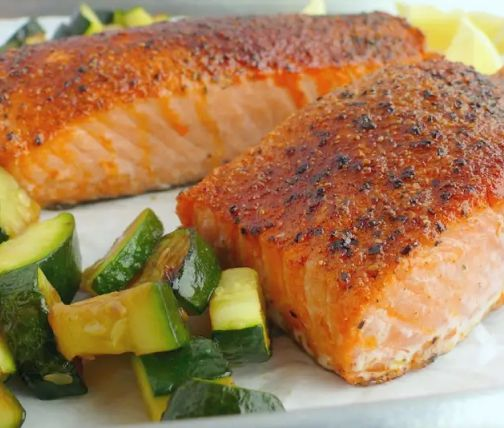 Plate of salmon with veggies
