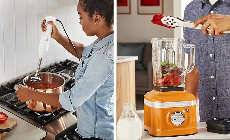 Woman blending soup with immersion blender vs countertop blender being used by a man