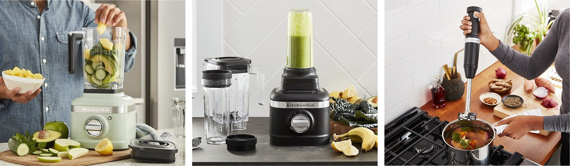 Three types of blenders being used: A countertop blender, personal blender and immersion blender