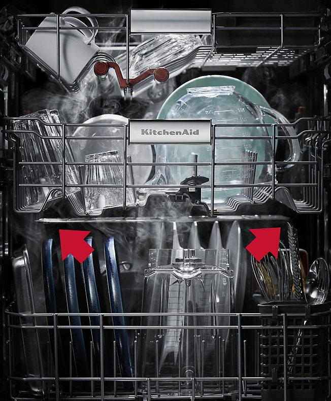 Interior view of a loaded dishwasher