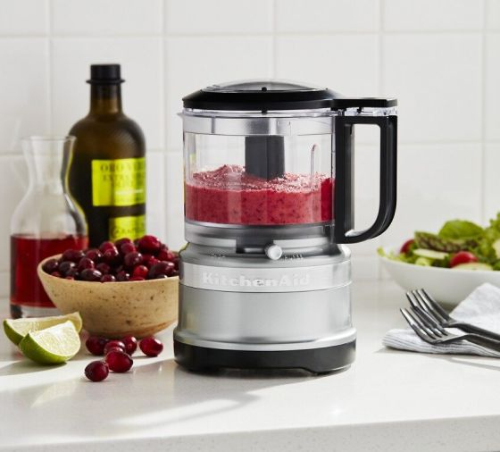 Contour Silver KitchenAid® food chopper filled with fruit puree