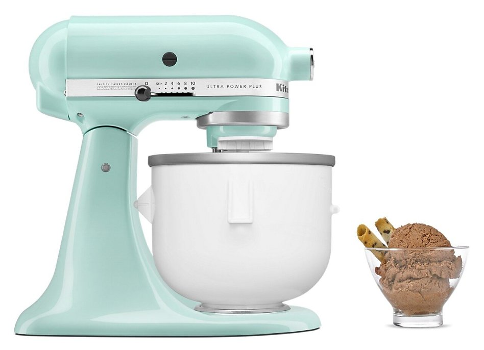 Aqua Sky stand mixer with Ice Cream Maker attachment and bowl of chocolate ice cream